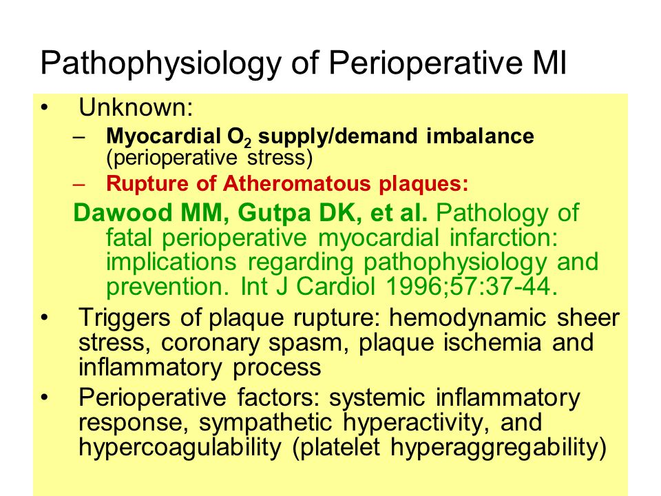 Pathophysiology of Perioperative MI