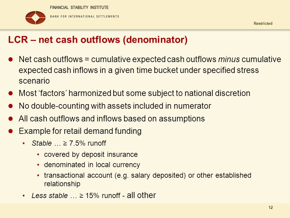 LCR – net cash outflows (denominator)