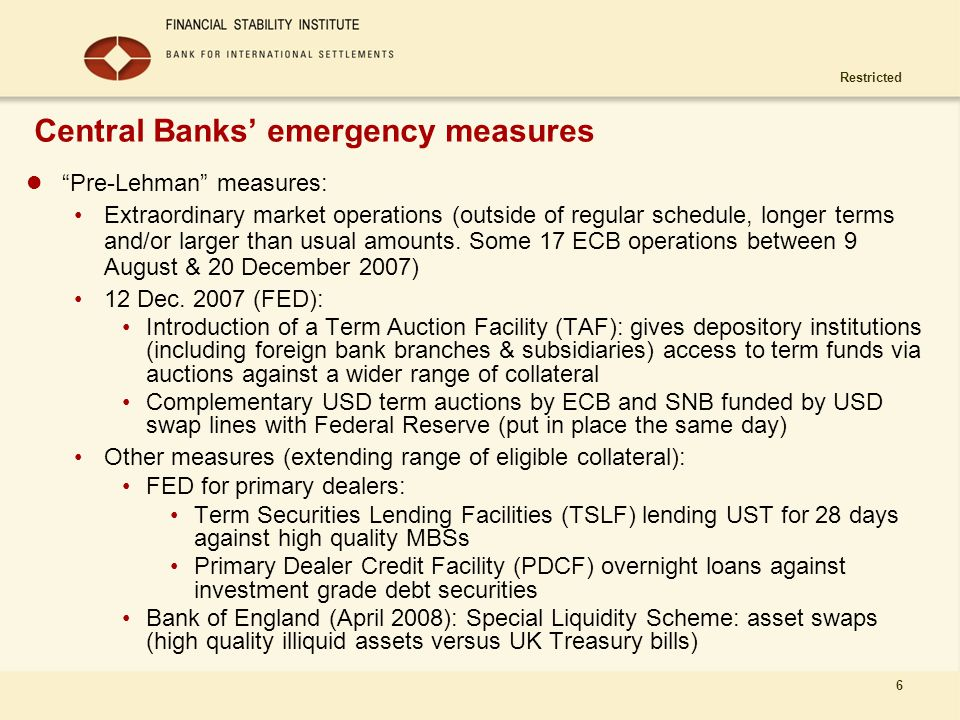Central Banks' emergency measures