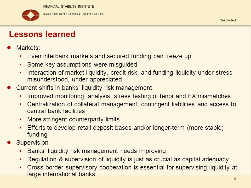 Lessons learned Markets: