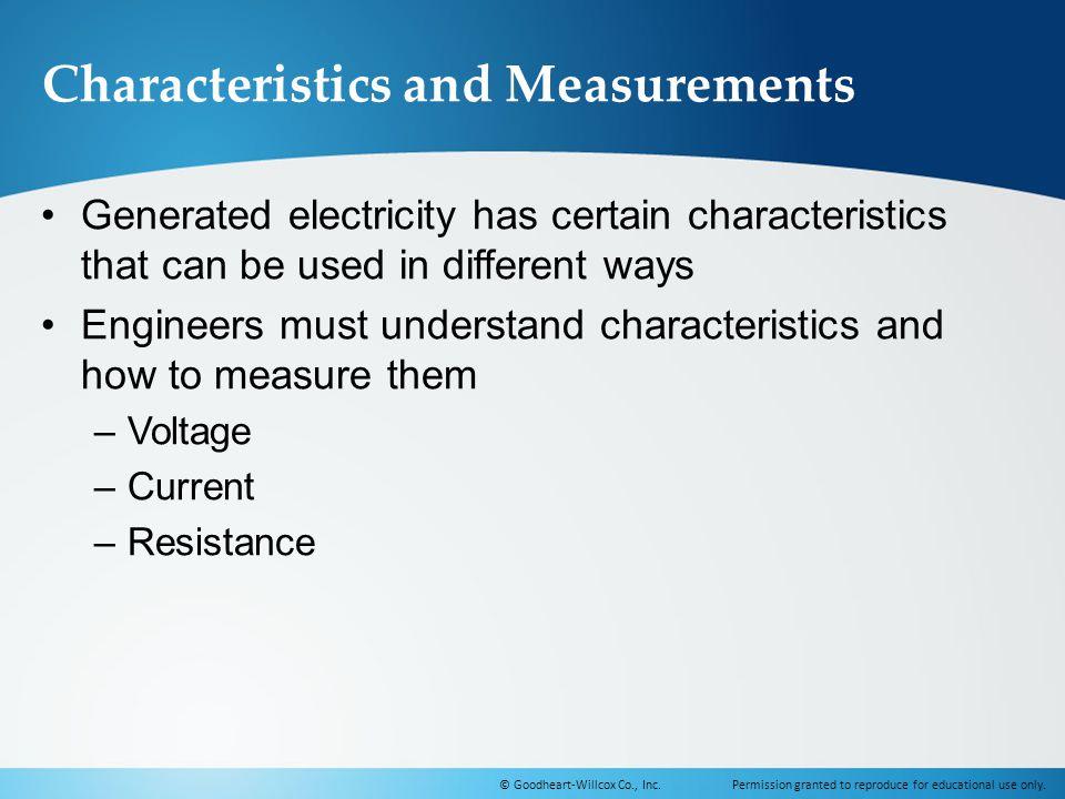 Characteristics and Measurements