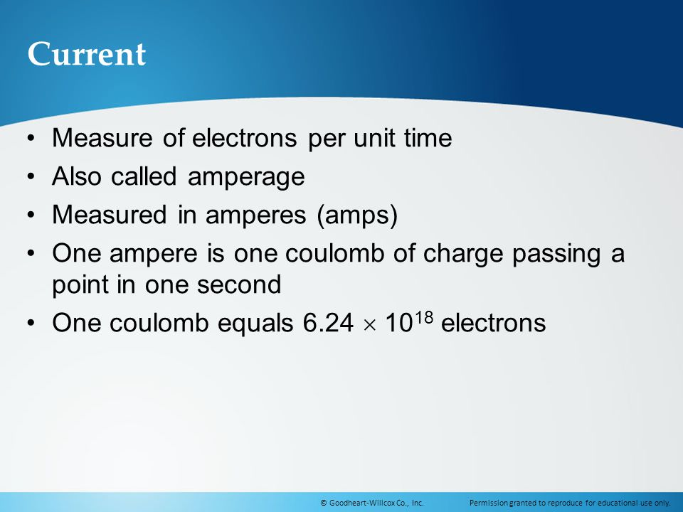 Current Measure of electrons per unit time Also called amperage
