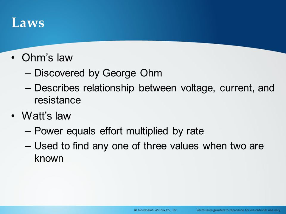 Laws Ohm's law Watt's law Discovered by George Ohm