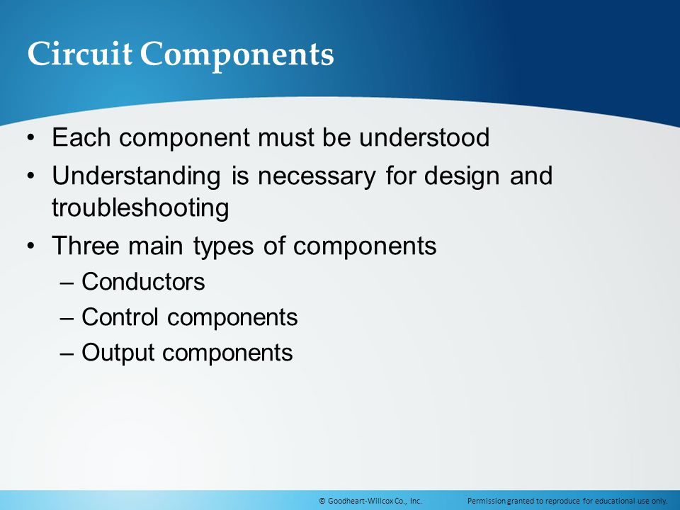Circuit Components Each component must be understood