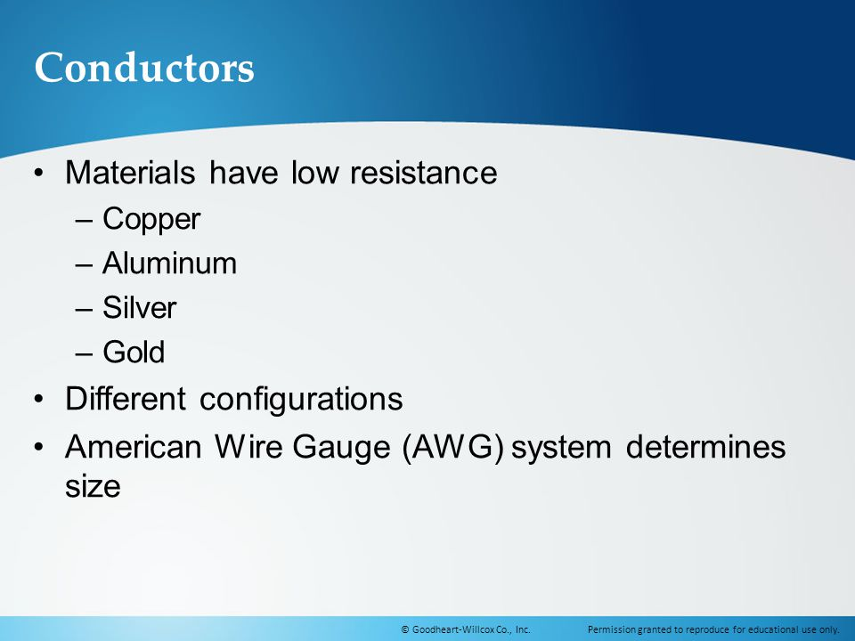 Conductors Materials have low resistance Different configurations