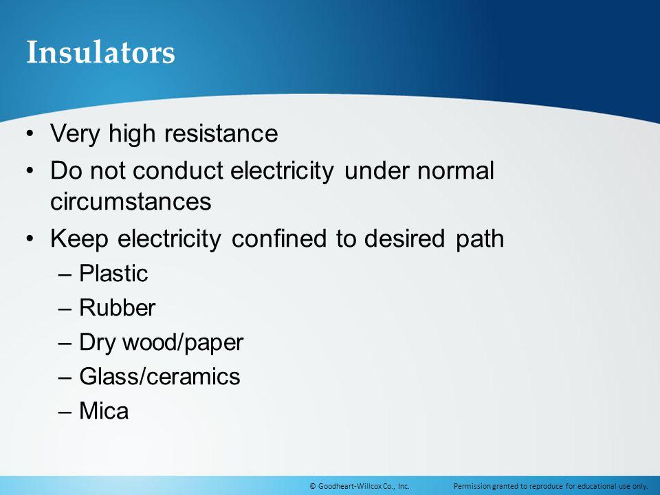 Insulators Very high resistance