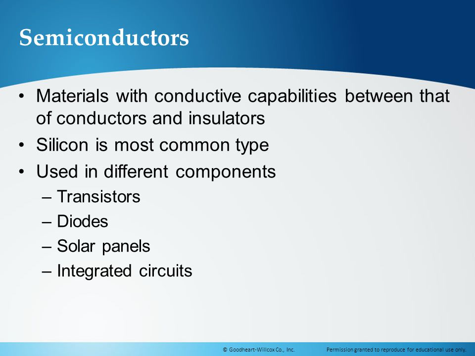 Semiconductors Materials with conductive capabilities between that of conductors and insulators. Silicon is most common type.