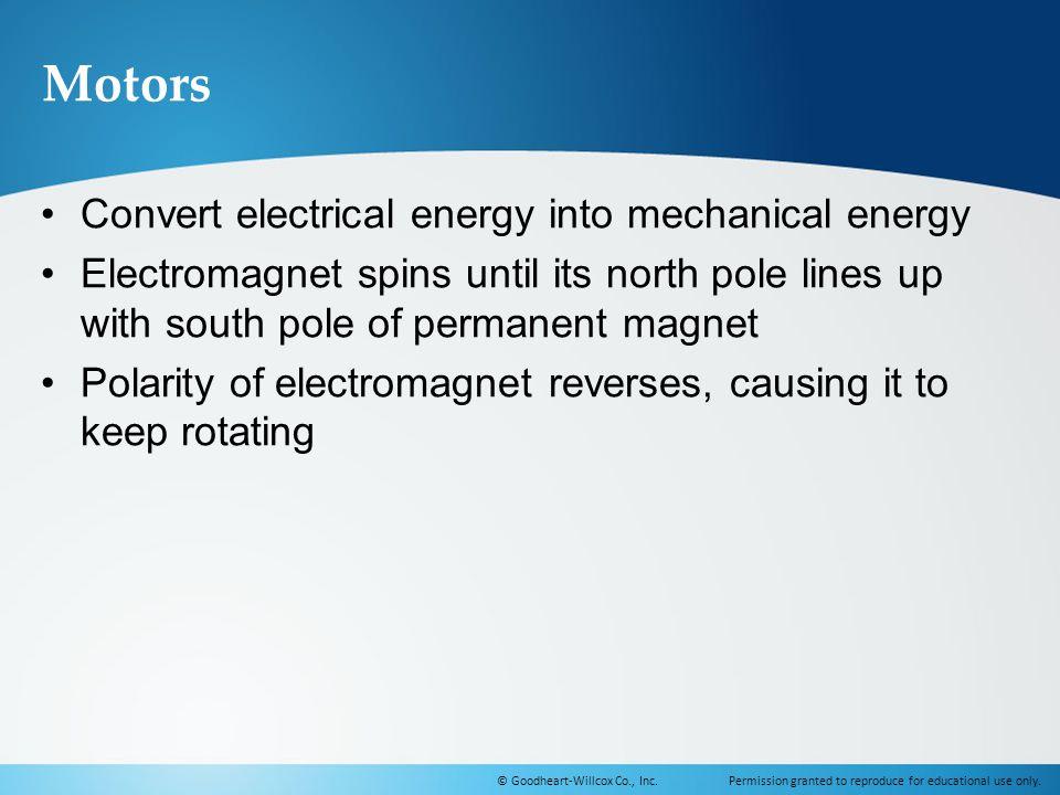 Motors Convert electrical energy into mechanical energy