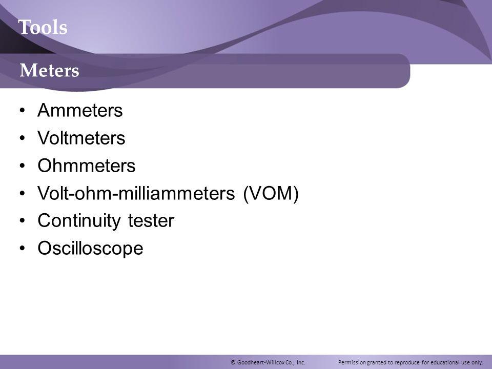 Tools Meters Ammeters Voltmeters Ohmmeters