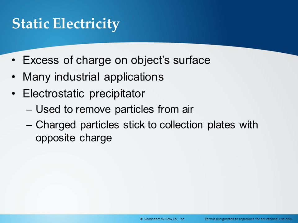Static Electricity Excess of charge on object's surface