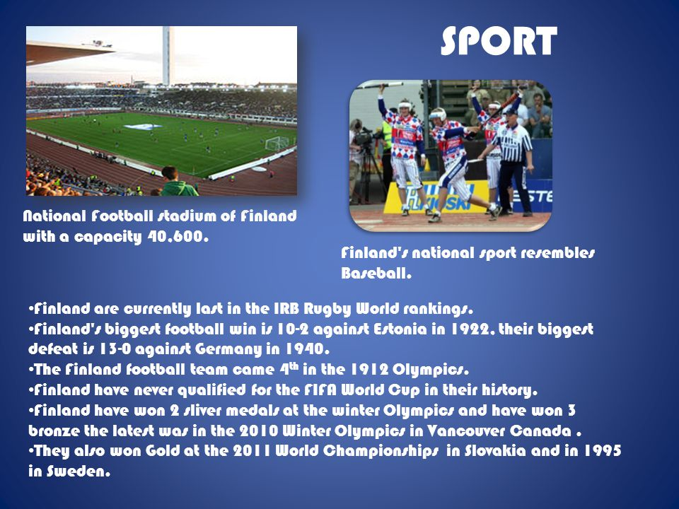 SPORT National Football stadium of Finland with a capacity 40,600.