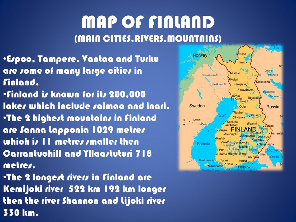 MAP OF FINLAND (MAIN CITIES,RIVERS,MOUNTAINS)