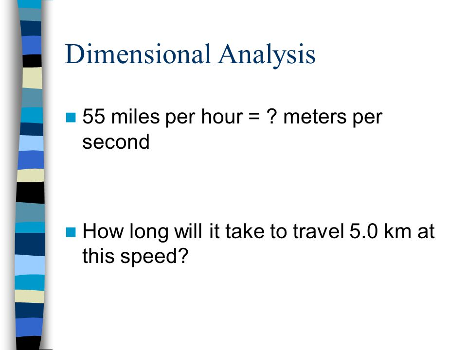 Dimensional Analysis 55 miles per hour = meters per second