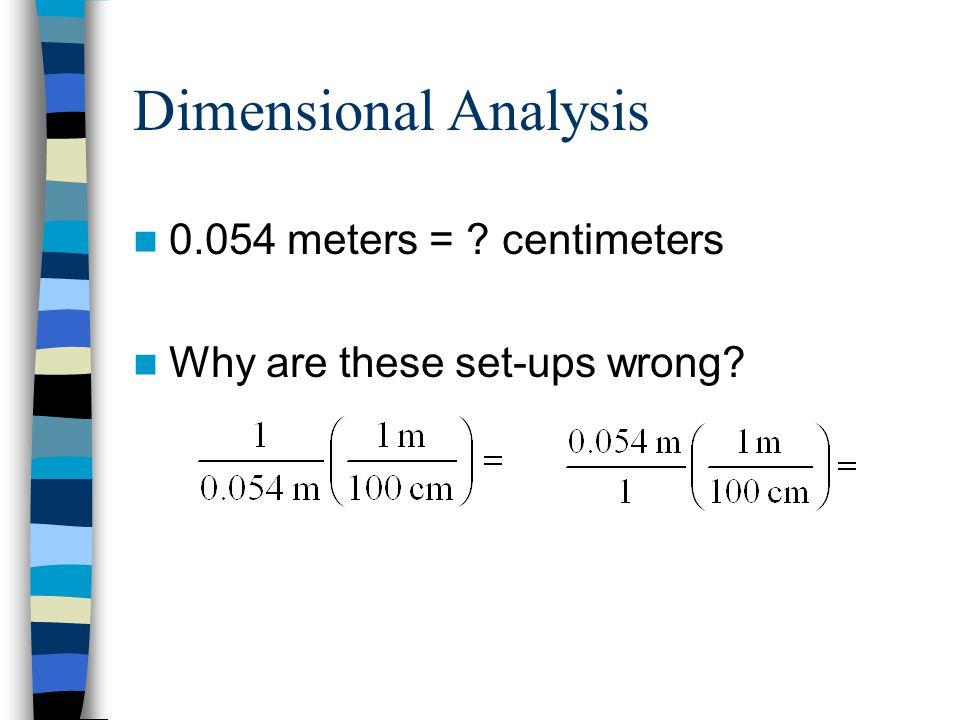 Dimensional Analysis 0.054 meters = centimeters