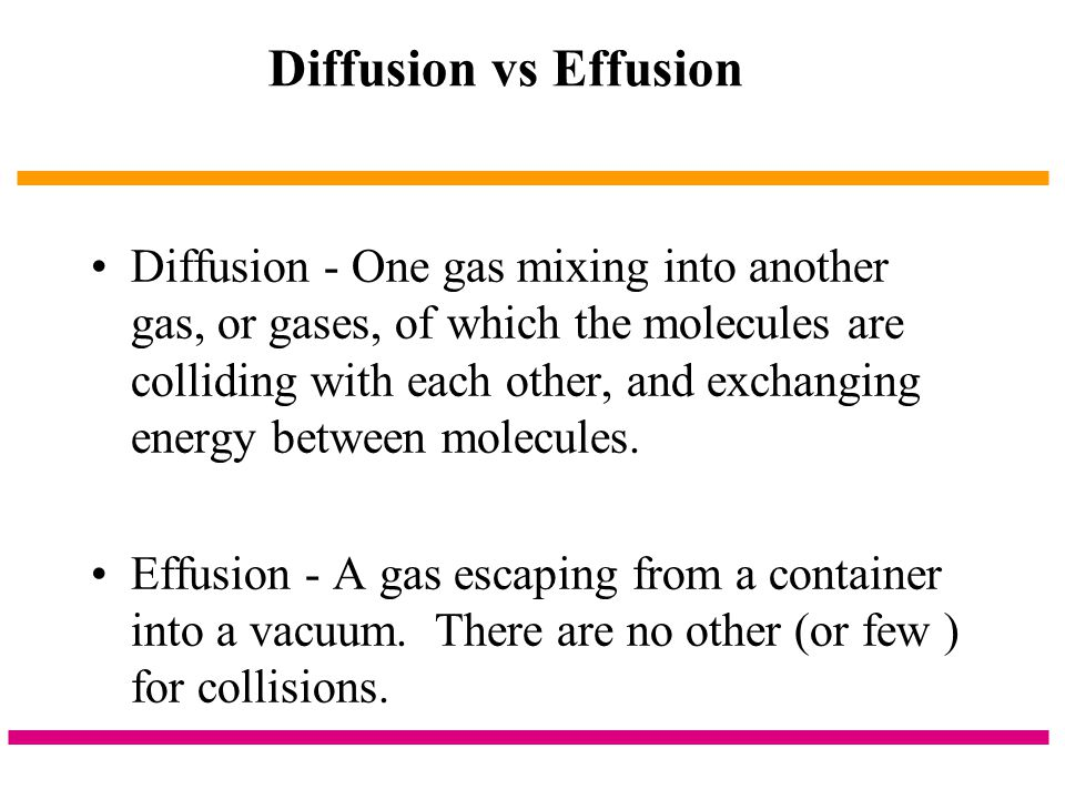 Diffusion vs Effusion
