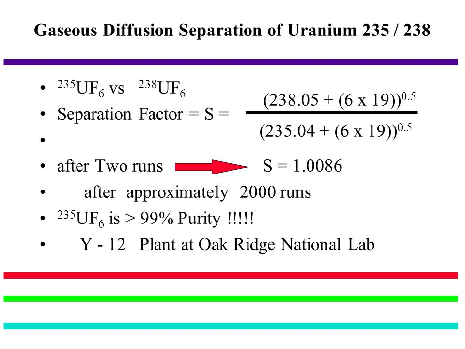 Gaseous Diffusion Separation of Uranium 235 / 238