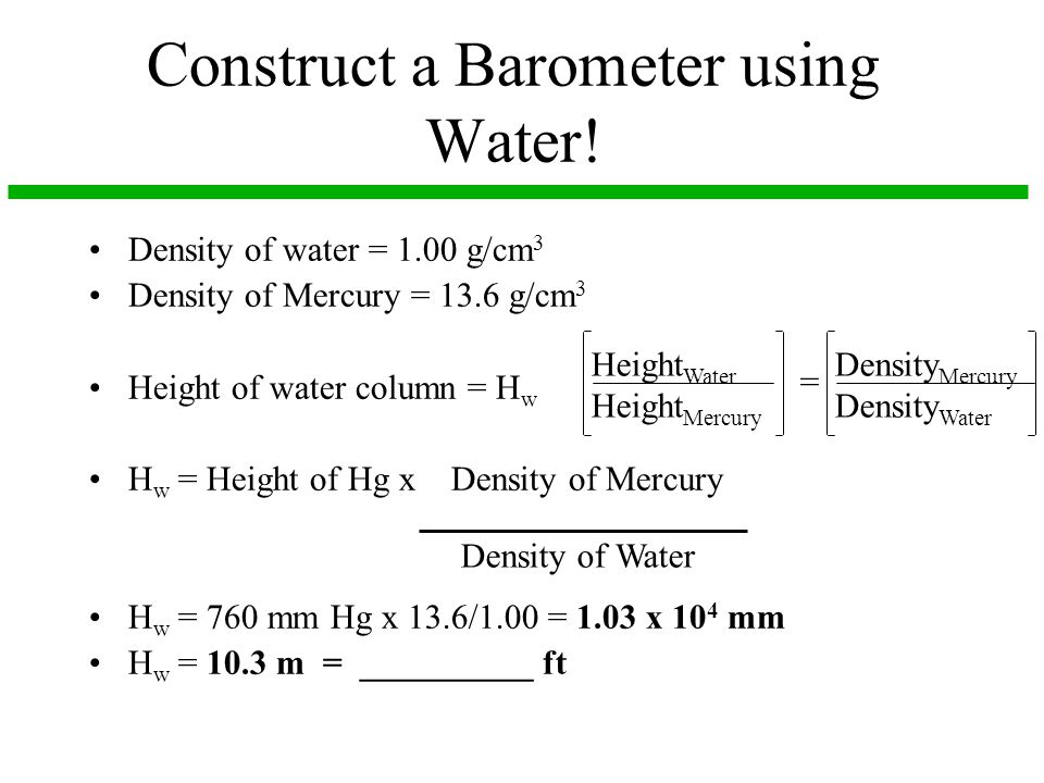 Construct a Barometer using Water!