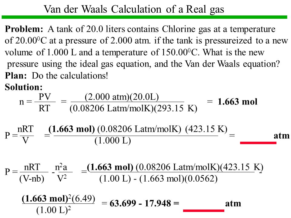 Van der Waals Calculation of a Real gas