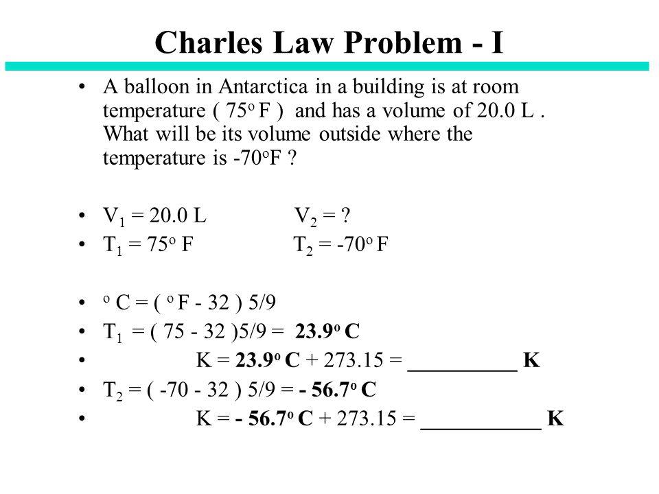 Charles Law Problem - I