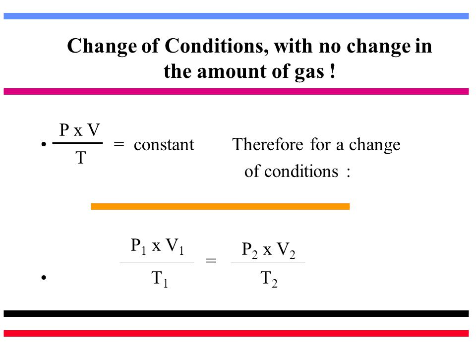 Change of Conditions, with no change in the amount of gas !