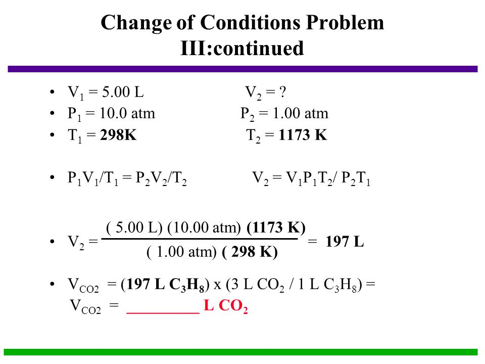 Change of Conditions Problem III:continued