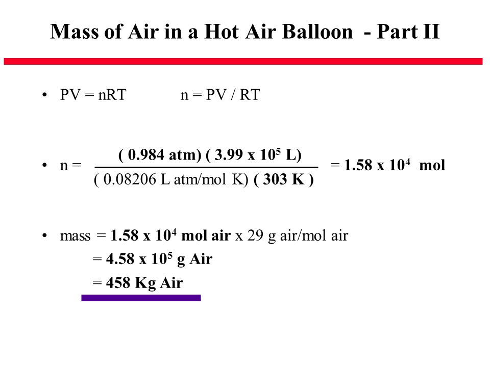 Mass of Air in a Hot Air Balloon - Part II