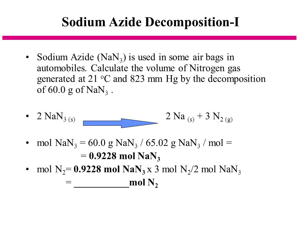 Sodium Azide Decomposition-I