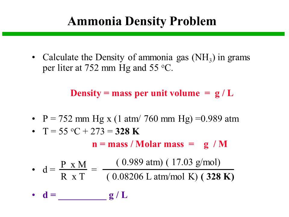 Ammonia Density Problem