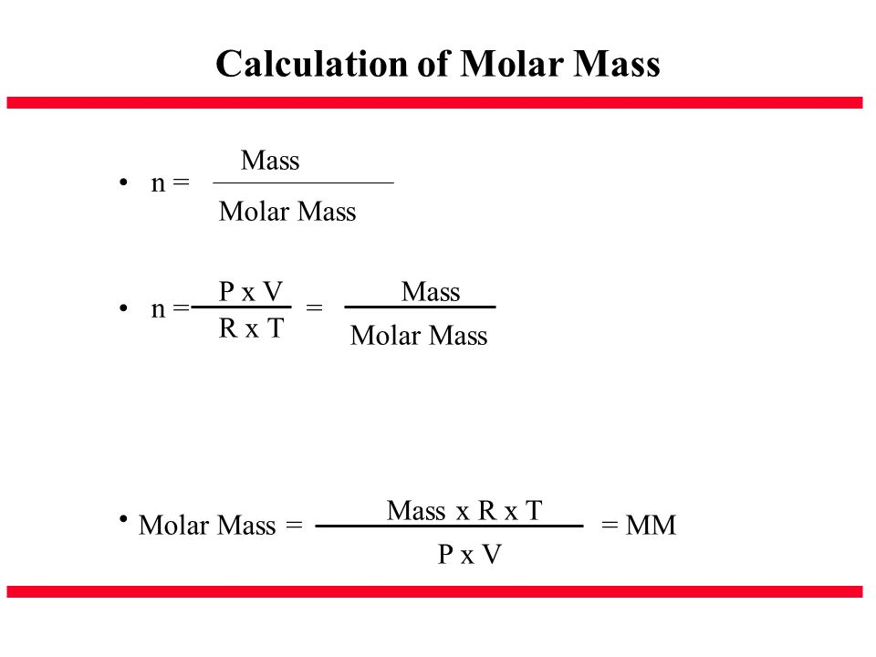 Calculation of Molar Mass
