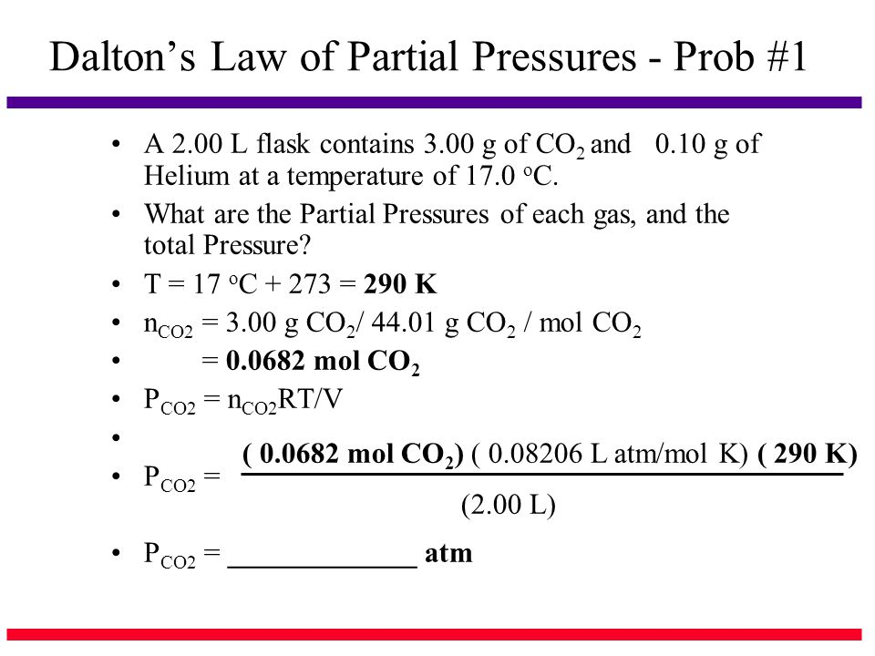 Dalton's Law of Partial Pressures - Prob #1