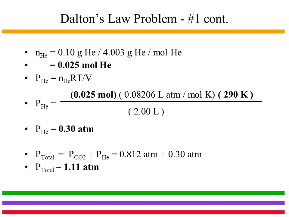 Dalton's Law Problem - #1 cont.