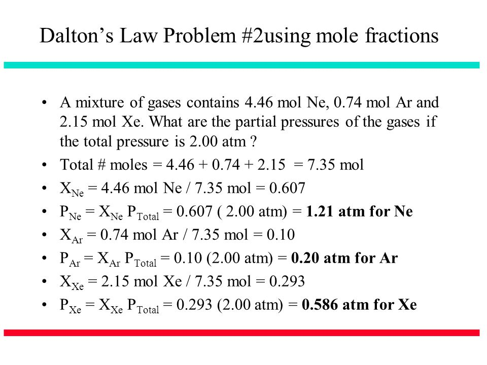 Dalton's Law Problem #2using mole fractions
