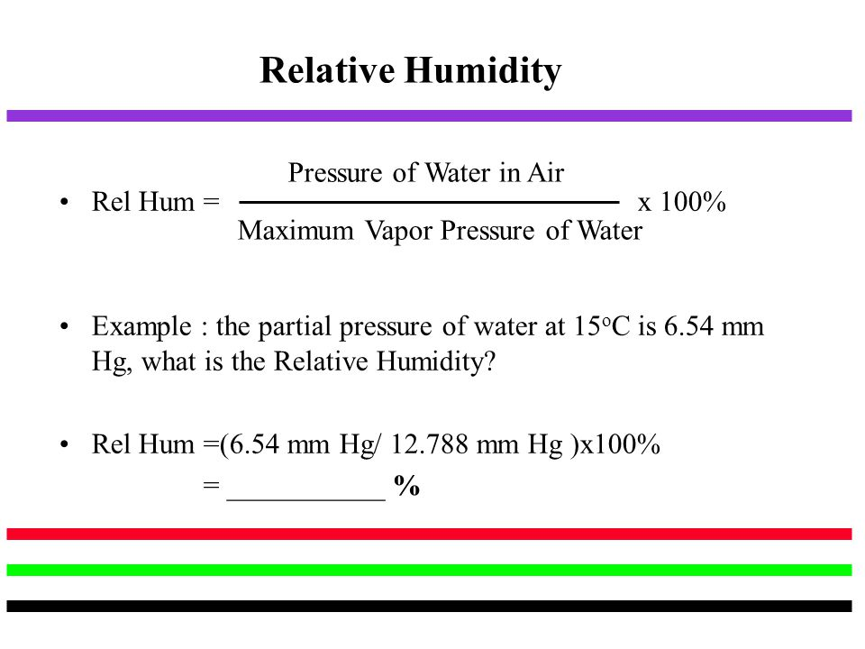 Relative Humidity Pressure of Water in Air Rel Hum = x 100%