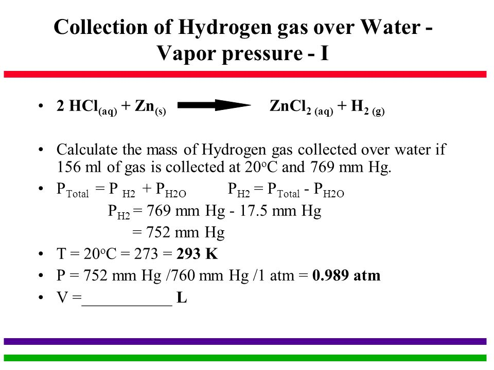 Collection of Hydrogen gas over Water - Vapor pressure - I
