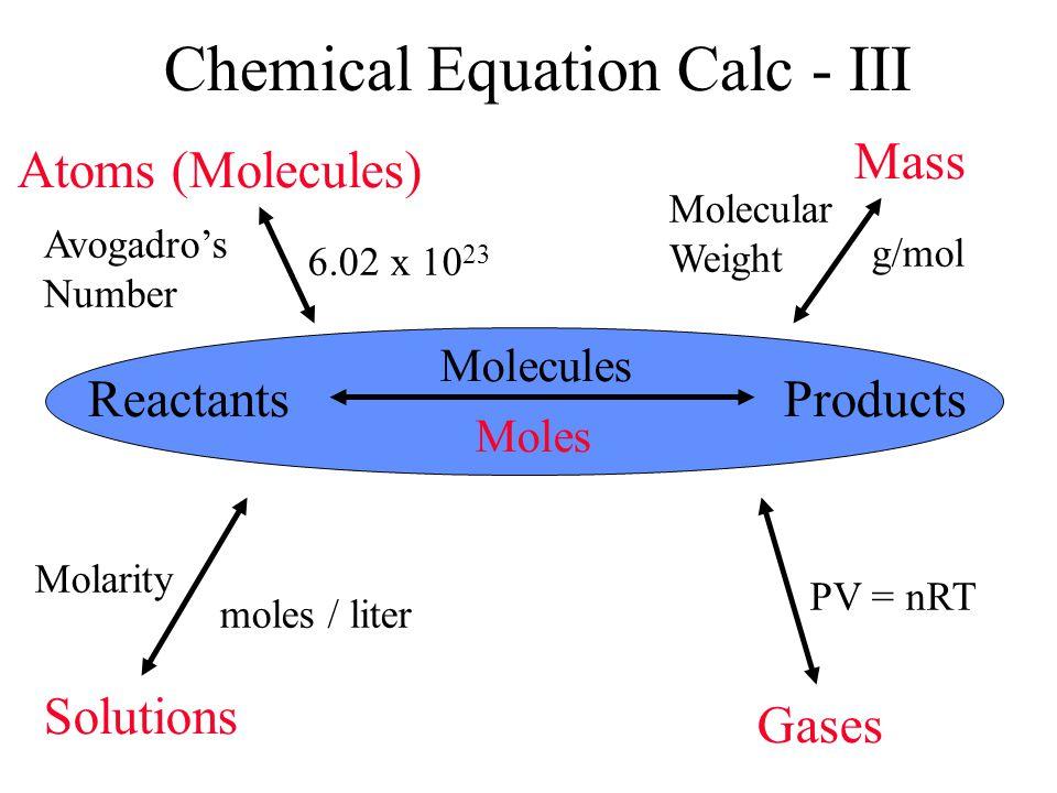 Chemical Equation Calc - III