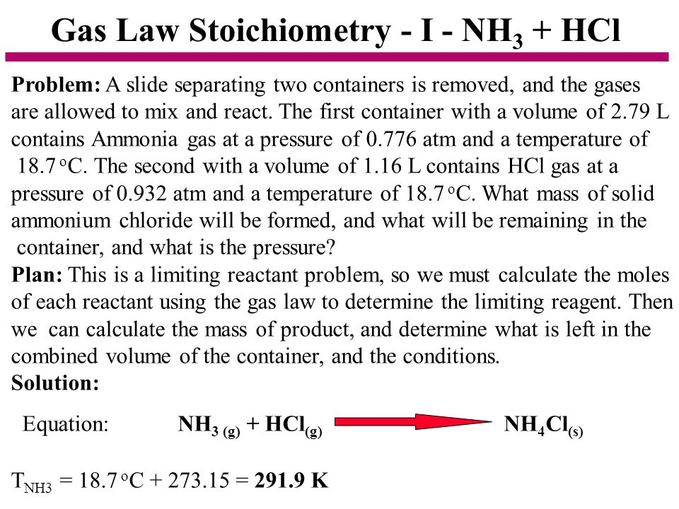 Gas Law Stoichiometry - I - NH3 + HCl