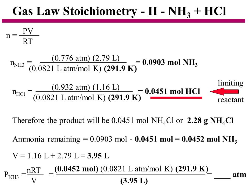 Gas Law Stoichiometry - II - NH3 + HCl