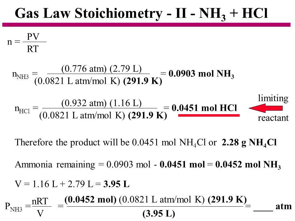 Gas Law Stoichiometry - II - NH3 + HCl