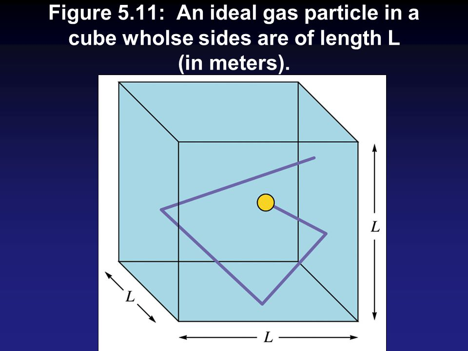 Figure 5.11: An ideal gas particle in a cube wholse sides are of length L (in meters).