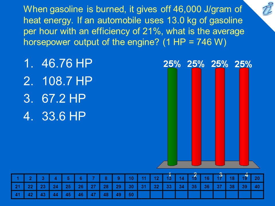 When gasoline is burned, it gives off 46,000 J/gram of heat energy