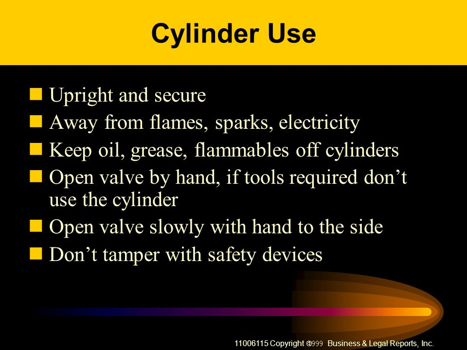 Cylinder Use Upright and secure Away from flames, sparks, electricity