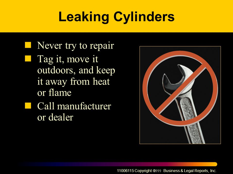 Leaking Cylinders Never try to repair
