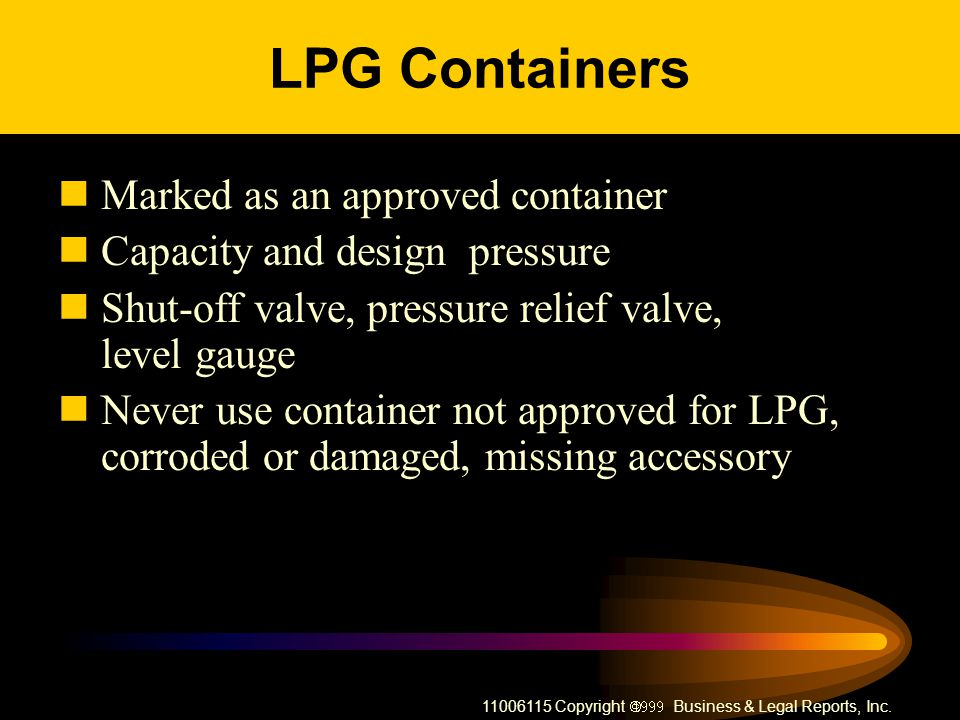 LPG Containers Marked as an approved container