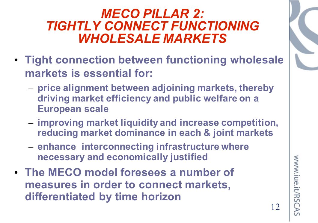MECO PILLAR 2: TIGHTLY CONNECT FUNCTIONING WHOLESALE MARKETS