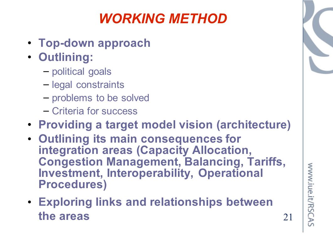 WORKING METHOD Top-down approach Outlining: