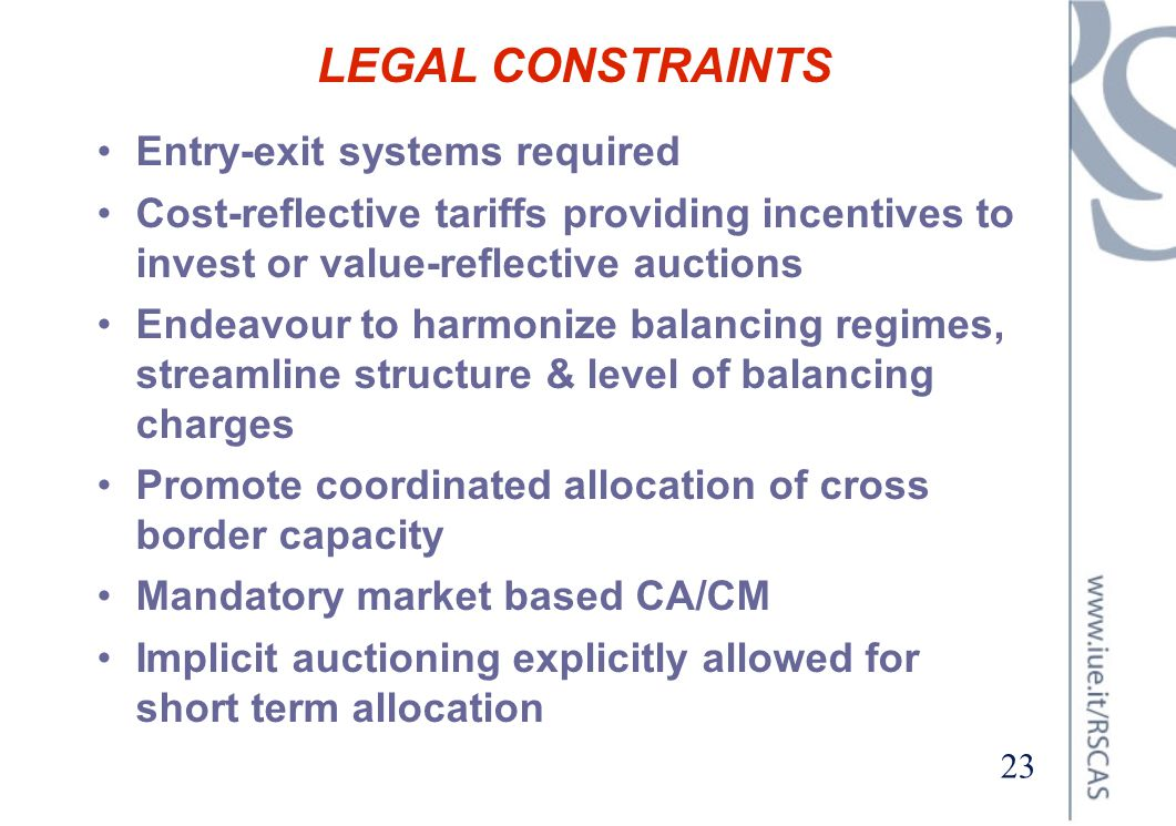 LEGAL CONSTRAINTS Entry-exit systems required