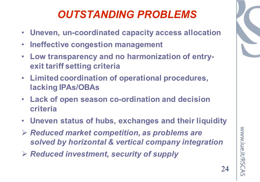 OUTSTANDING PROBLEMS Uneven, un-coordinated capacity access allocation