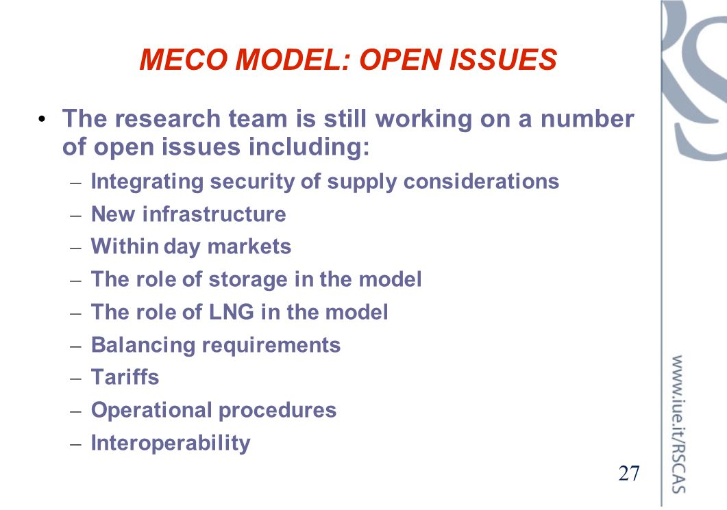 MECO MODEL: OPEN ISSUES