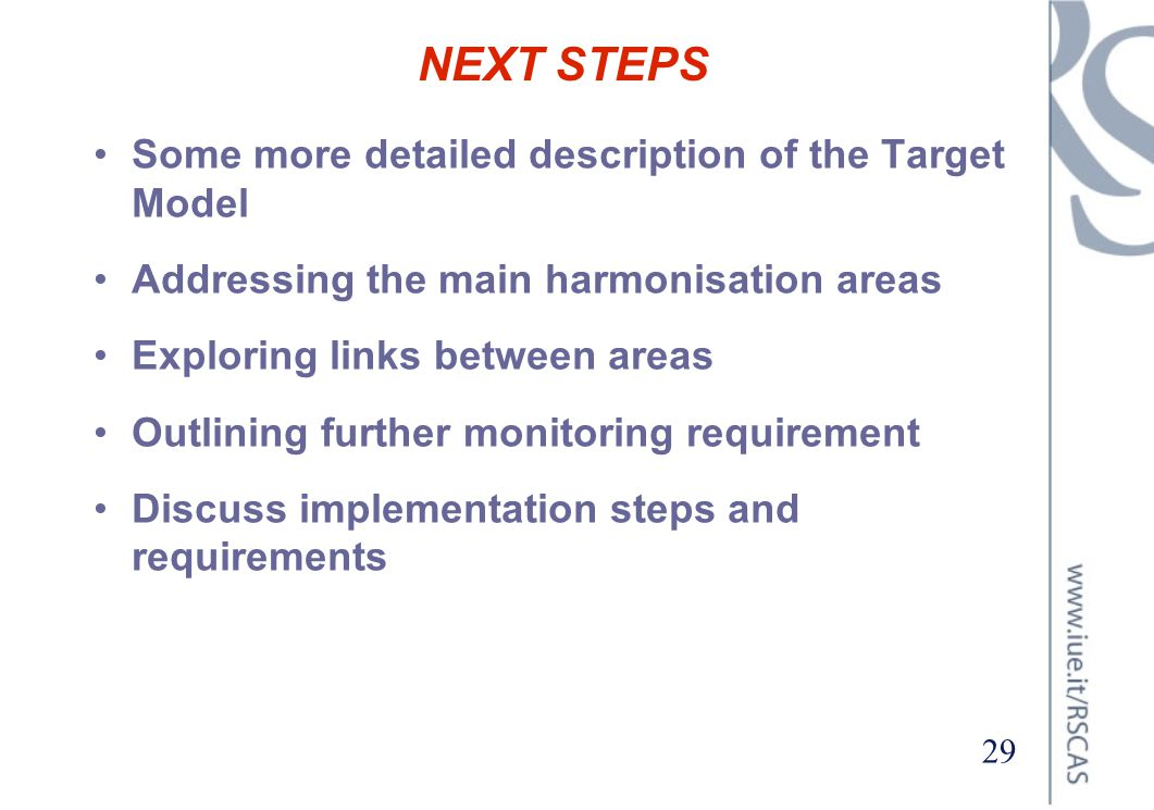 NEXT STEPS Some more detailed description of the Target Model
