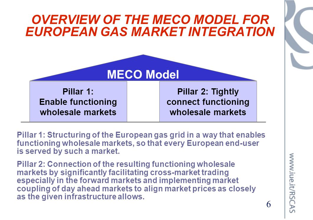 OVERVIEW OF THE MECO MODEL FOR EUROPEAN GAS MARKET INTEGRATION